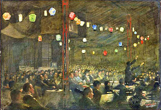 Ruhleben internment camp - Gala performance of The Mikado: painting by Nico Jungman