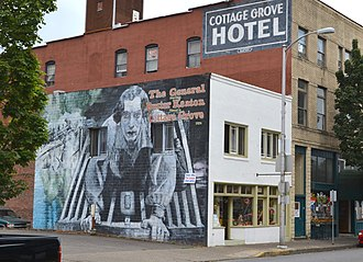 The General (1926 film) - A mural commemorating the film in Cottage Grove, Oregon, where much of it was filmed in the summer of 1926