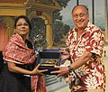 The International Jury Member Victor Banerjee felicitating the Assamese Film Actress Seema Biswas, at the Closing Ceremony of the North East Films, during the 44th International Film Festival of India (IFFI-2013), in Panaji.jpg