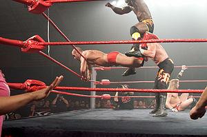 The World's Greatest Tag Team - Haas and Benjamin performing the Broken Arrow on Claudio Castagnoli.