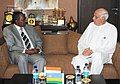 The Minister of Infrastructure of Rwanda, Mr. Vincent Karega meeting the Union Minister for New and Renewable Energy, Dr. Farooq Abdullah, in New Delhi on October 22, 2010.jpg