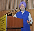 The Minister of State for Housing and Urban Affairs (IC), Shri Hardeep Singh Puri addressing at the inauguration of the National Seminar on Emerging Materials and Construction Technologies, in New Delhi on February 22, 2018.jpg