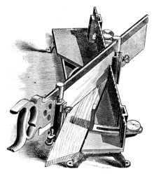 Illustration of a metal mitre box used for cutting angles from 45° to 90°
