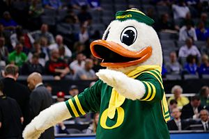 The Oregon Duck - The Oregon Duck at a basketball game in 2017