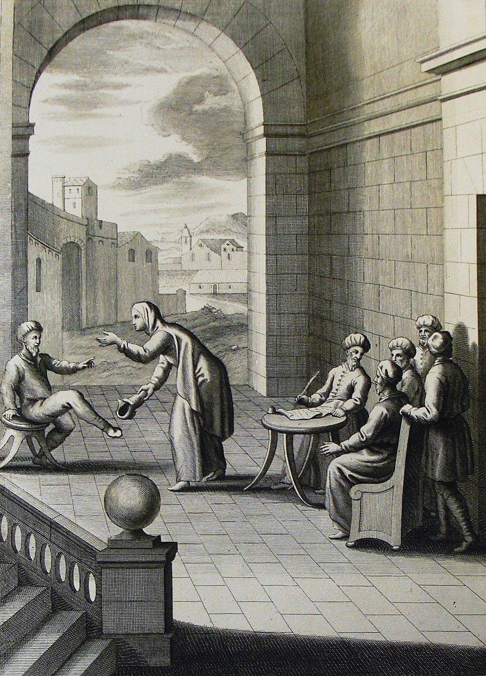 The Phillip Medhurst Picture Torah 609. Obligations to a widow. Deuteronomy cap 25 v 9. Schenck