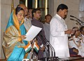 The President, Smt. Pratibha Devisingh Patil administering the oath as Minister of State to Shri Bharatsinh Solanki, at a Swearing-in Ceremony, at Rashtrapati Bhavan, in New Delhi on May 28, 2009.jpg