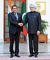 The Prime Minister, Dr. Manmohan Singh meeting the President of the Republic of Maldives, Mr. Abdulla Yameen Abdul Gayoom, in New Delhi on January 02, 2014 (1).jpg