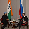 The Prime Minister, Dr. Manmohan Singh with the President of Russia, Mr. Dmitry A. Medvedev, on the sidelines of BRIC and IBSA Summits, in Brasilia, Brazil on April 15, 2010 (1).jpg