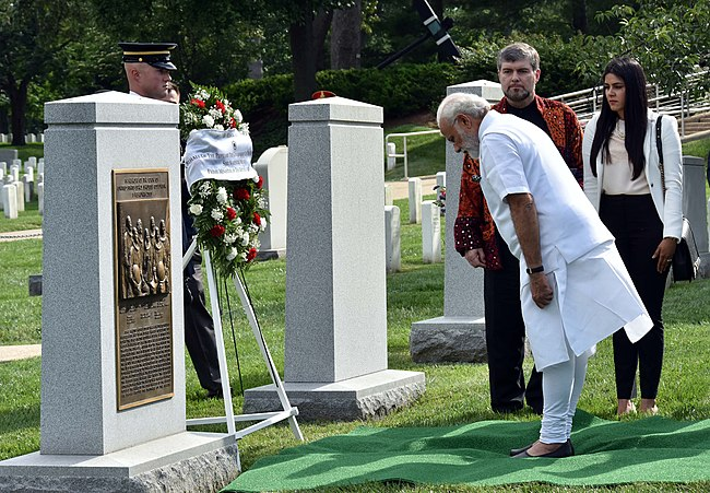 The Prime Minister, Shri Narendra Modi paying homage at Space Shuttle Columbia Memorial, in Washington DC on June 06, 2016 (1).jpg