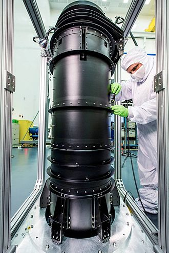 Optical Telescope Element - The Deployable Tower Assembly(DTA)  is where OTE connects with the rest of telescope such as the Spacecraft Bus. During stowage there is another attachment point for the folded sunshield higher up on the OTE