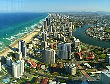 Queensland-Economy-The southwards panorama of Gold Coast taken from Q1 Skypoint onMar 13, 2019