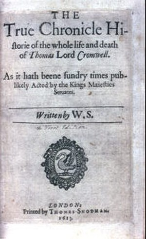 Thomas Snodham - The second quarto of the play Thomas Lord Cromwell, printed by Snodham