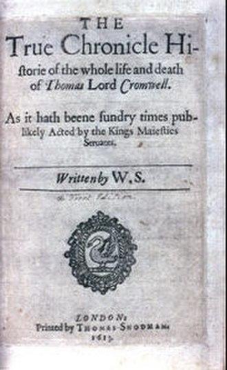Thomas Snodham - The second quarto of the play Thomas Lord Cromwell, printed by Snodham