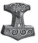 Drawing of a Mjolnir pendant found in  1877 in Skåne, Sweden.