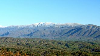 Thunderhead Mountain - A snow-capped Thunderhead Mountain of the Great Smoky Mountains range rises above Cades Cove in Blount County, Tennessee