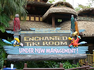 The Enchanted Tiki Room (Under New Management) Theatre-in-the-round attraction that operated in Magic Kingdom from 1998 to 2011, featuring characters from Disneys Aladdin and The Lion King