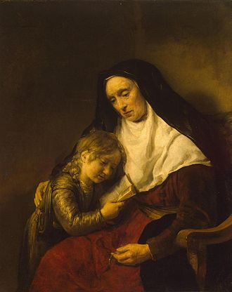 Saint Timothy - Rembrandt's Timothy and his grandmother, closeup, 1648.