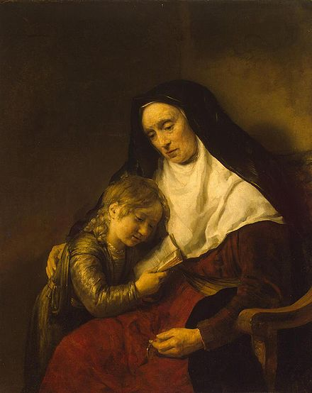 Rembrandt's Timothy and his grandmother, 1648. Timothy-and-Lois.jpg