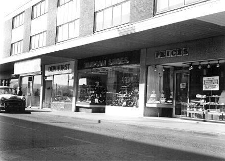 Dale Street in 1966. Trade within the town's shopping centre has declined in recent years. Timpsons shoes radcliffe greater manchester.jpg