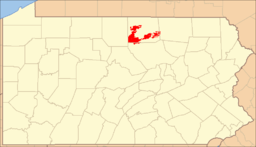 Location of Tioga State Forest in Pennsylvania