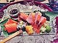 Today's sashimi from Tsukiji- salmon, ikura, sayori, squid, mentaiko, uni, kinmedai, hotaru ika, baby Japanese peach, aged soy.jpg