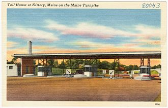 Interstate 95 in Maine - Early postcard of tollbooths at Kittery
