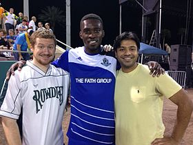 Tomi Ameobi with fans after a FC Edmonton game 2014-05-08 15-16.jpg