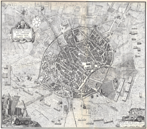 Domenico Aspari - Topographical map of Milan as it supposedly was in 1158, drawn by Aspari in 1778.
