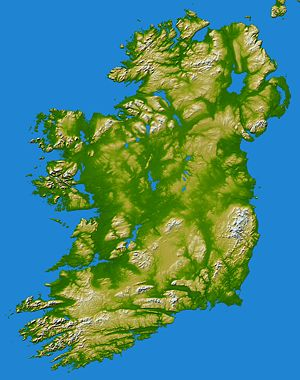Erin - A topographic map of Ireland, after which Erin is named