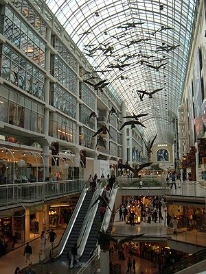 Michael Snow - Interior of the Eaton Centre showing one of Michael Snow's best known sculptures Flightstop, which depict Canada geese in flight.