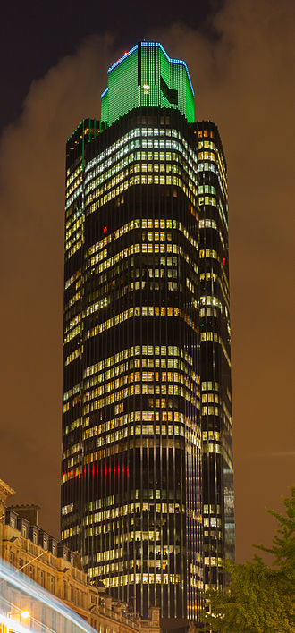 Tower 42 - Night view showing lighting display