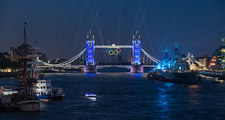 Tower Bridge illuminated with the Olympic Rings during the week leading up to the Opening Ceremony Tower Bridge Olympic Lighting, London - July 2012.jpg