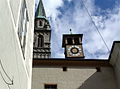 Tower clock on Franziskanerkirche. Salzburg.jpg