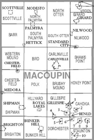 Macoupin County, Illinois - Map of Macoupin County, Illinois
