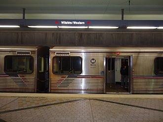 Wilshire/Western station - Image: Train parked at Wilshire Western