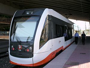 Alicante Tram - Tram at Lucentum station going to El Campello on line L3
