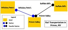 A map of the trams in Primm.