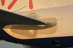 Stabilator - Adjustable stabilizer on an Embraer ERJ-170, with markings showing the degree of nose-up and nose-down trim available