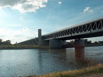 Navigable aqueduct - The Magdeburg Water Bridge seen from the shores of the Elbe