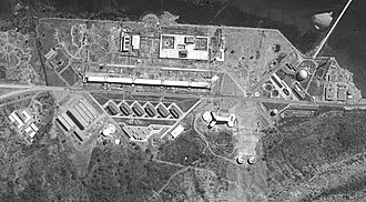 Bhabha Atomic Research Centre - India's first reactor and a plutonium reprocessing facility, Mumbai, as photographed by a US satellite on 19 February 1966.