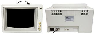Enhanced Graphics Adapter - Front and rear views of the TVM MD-3 CRT monitor (EGA / pre-VGA era). Note the DE-9 connector, cryptic mode switch, contrast and brightness controls at front, and the V-Size (controls vertical scaling) and V-Hold (controls signal to CRT refresh-rate synchronization) knobs at rear.