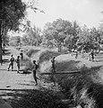Twee militairen steken een beek of sloot over via een boomstam terwijl anderen…, Bestanddeelnr 15816.jpg