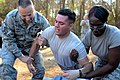 U.S. Air Force Airman Cameron Wood, center, with the 169th Security Forces Squadron, reacts to the effects of a taser gun during training at McEntire Joint National Guard Base, S.C., Jan. 12, 2014 140112-Z-WT236-148.jpg