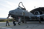 U.S. Airmen with 52nd Aircraft Maintenance Squadron remove firing pins from an A-10 Thunderbolt II aircraft before it takes off for Ramstein Rover 2012 at Spangdahlem Air Base, Germany, Sept 120904-F-GX122-130.jpg