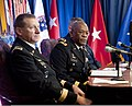 U.S. Army Maj. Gen. Errol R. Schwartz, right, the commanding general of Joint Force Headquarters, District of Columbia National Guard, takes questions during a press conference 121212-A-ZZ999-817.jpg