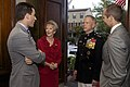 U.S. Marine Corps Gen. James F. Amos, second from right, the commandant of the Marine Corps, and his wife, Bonnie Amos, speak with guests during a reception in honor of retired U.S. Sen. John Warner, not shown 130503-M-LU710-116.jpg