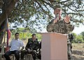 U.S. Navy Capt. Rod Moore, right, the commander of the Joint Civil Military Operations Task Force, speaks during a groundbreaking ceremony for a bridge as part of Balikatan 2013 in Tapuac, Philippines, March 21 130321-N-VN372-028.jpg