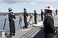 U.S. Sailors aboard the guided missile frigate USS Ford (FFG 54) man the rails as the ship arrives in Esquimalt, British Columbia, Canada, April 30, 2013, to participate in exercise Trident Fury 2013 130430-N-QY316-046.jpg