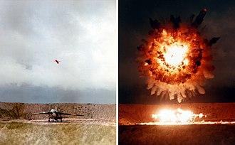 Tomahawk (missile) - UGM-109 Tomahawk missile detonates above a test target, 1986