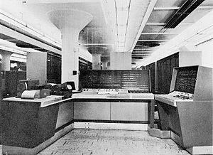 UNIVAC 1105 -  UNIVAC 1105 operator console, in front of the cabinets containing the CPU and memory.